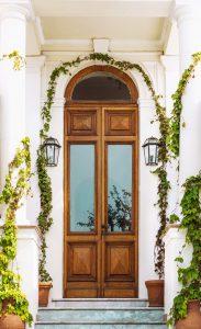 Brown casement door